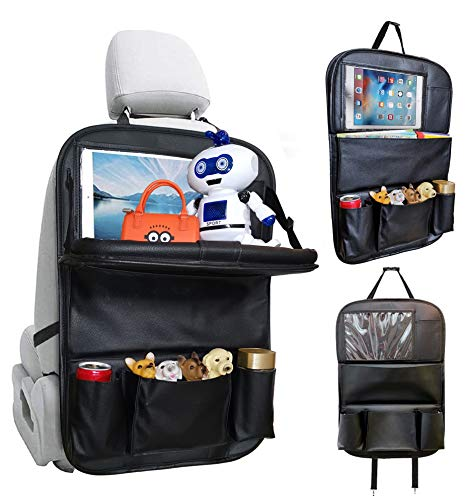 """Car Backseat Organizer, PU Leather Car Seat Back organizer with 10"""" Touch Screen + Foldable Dining Table Tray + 6 storage pockets. Travel Accessories Car Organizer with Foldable Tray (Black 1/pk)"""