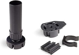 Emuca - Patas para mueble, Pies para muebles de plástico color negro, Lote de 4 pies regulables de alto 120mm