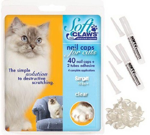 Soft Claws CLS Nail Caps for Cats, Feline Take-Home Kit, Clear, Small 6-8 lbs