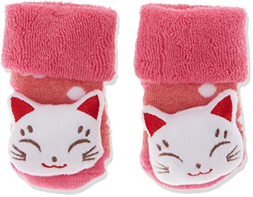 Sterntaler Sterntaler Baby-Mädchen Rasselsöckchen Katze Socken, Beerenrot Mel, 15/16