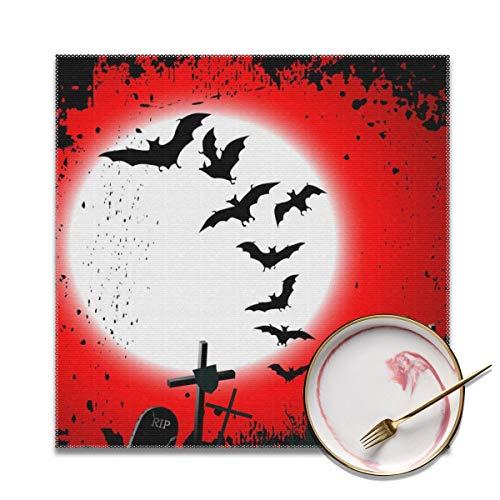 Sitear-Halloween-Hintergrund, zerstörter Friedhofsplatz, weich und einfach zu Falten, Anti-Fouling Tischdekoration, 30,5 x 30,5 cm, 4 Stück
