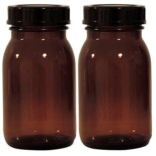 mikken - Tarros de farmacia marrón, 2 x 150 ml, incluye tapón de rosca y etiquetas, fabricados en Alemania.