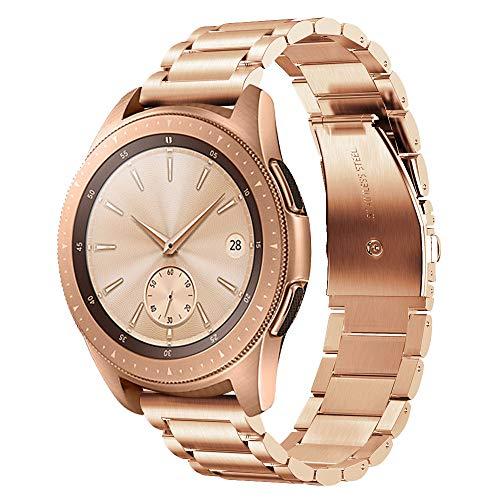 V-MORO Armband Kompatibel mit Samsung Galaxy Watch 42mm Armband Galaxy Watch Active 40mm 44mm,20mm Armband Rose Gold, Solider Edelstahl Metall Band Ersatzarmband