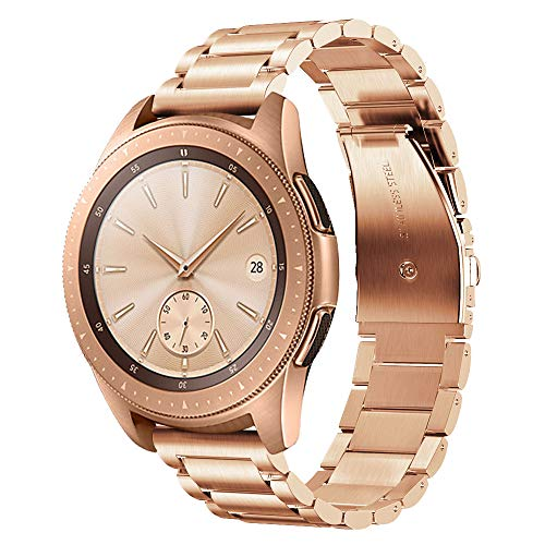 V-MORO Armband Kompatibel mit Samsung Galaxy Watch 42mm Armband Galaxy Watch Active 40mm 44mm,20mm Armband Rose Gold, Solider Edelstahl Metall Band Ersatzarmband
