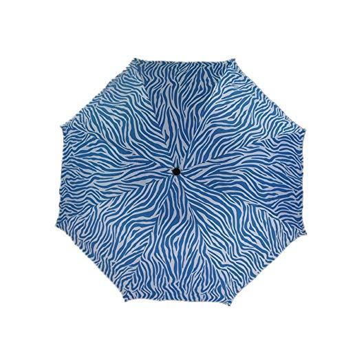 YNHNI Paraguas plegable de tela de impacto con protección solar manual de triple pliegue para lluvia y sol, portátil (color: azul)