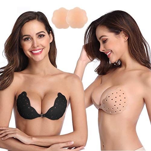 Niidor Sticky Bra, 2 Pack Breathable Strapless Bra Adhesive Push Up Backless Bras for Women(Black/Nude-B)