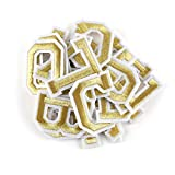 Letter Iron On Patches Sew On Appliques with Gold Embroidered Patch A-Z Letter Badge Decorate Repair Patches for Hats, Jackets, Shirts, Vests, Shoes, Jeans(52 PCS Alphabet Set)