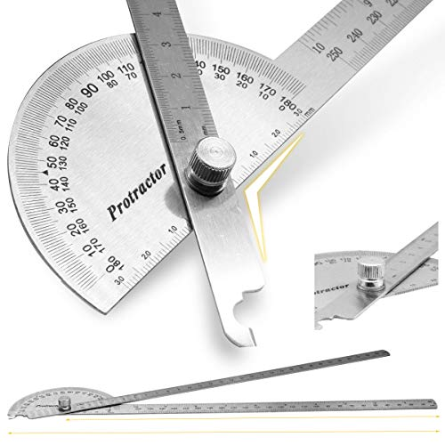 Protractor Angle Protractor Two Arm 11.8in /30cm,9.84in / 25cm,10in Woodworking Ruler Angle Measure Tool Stainless Steel For Student Drawing Stone Painting Artist Baseboard Crafts Stationery Geometry