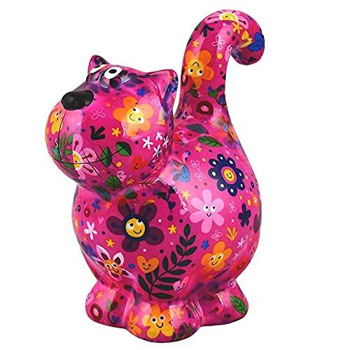 Pomme Pidou Chat Dorothy   Tirelire en Céramique   Motif Rose avec des Fleurs   18x11x20...