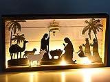 Kontarbo - Belén de Navidad luminoso en marco de madera, LED luz blanca cálida con estrella brillante, 39,5 x 4 x 21 cm