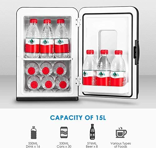Mini Kühlschrank 15 Liter Tragbare Kühlschränke mit Kühl- und Heizfunktion, 220 V AC/ 12 V DC für Auto und Haushalt, Thermoelektrischer Mini-Kühlschränke für Hautpflege und Kosmetik (ECO-Modus) 2