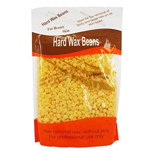 300G cire dépilatoire perles solide dur haricots perle forme Granules Film chaud épilation à la cire perles pour l'épilation du visage corps(Odeur de miel)