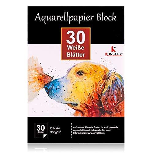 Aquarellpapier Block 300g DIN A4, 30 Blatt, weißer Block geleimt, Aquarell-Block für Aquarell Stifte Zeichnen Malen, Watercolor Paper Pad Block