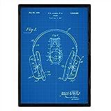 Nacnic Poster con Patente de Auriculares. Lámina con diseño de Patente Antigua en tamaño A3 y con Fo...