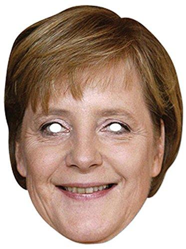 Angela Merkel Prominentenmaske, Papp Maske, aus hochwertigem Glanzkarton mit Augenlöchern, Gummiband - Grösse ca. 30x21 cm