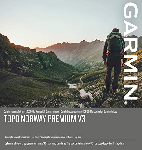 Garmin TOPO Norway Premium v3, 4 - Sentral Ost Kartenmaterial, Mehrfarbig, One Size
