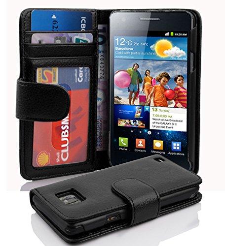 Cadorabo Custodia Libro per Samsung Galaxy S2 / S2 PLUS in NERO PROFONDO - con 3 Vani di Carte e Chiusura Magnetica - Portafoglio Cover Case Wallet Book Etui Protezione