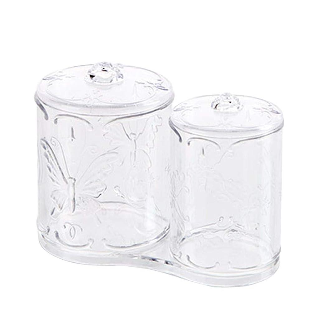 化粧先駆者可動式OUNONA 綿棒ケース 綿棒ボックス コスメボックス プラスチック 2in1 コットン フタ付き メイクケース パフ 小物 コスメ 化粧品 ジュエリー アクセサリー 収納 多機能 防塵 透明 卓上 浴室