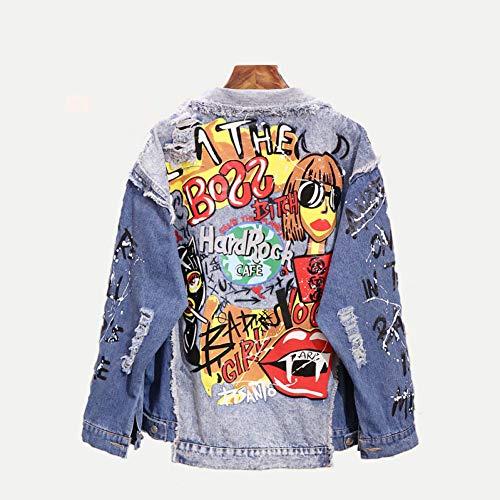 NSWTKL Jeansjas mode Graffiti Appliques Hip Hop Jean jas vrouwen herfst wasmiddel denim jas unisex casual streetwear
