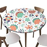 """SfeatrutMAT Indoor Outdoor Polyester Fitted Tablecloth Cover Flannel Backed Lining Stretched to Fits up 45""""-56"""" Diameter Tables Hedgehog Pattern"""