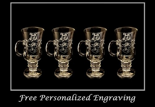 O'Connor Irish Family Coat of Arms Irish 10oz. Coffee Glass Set of 4- Free Personalization