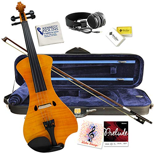Electric Violin Bunnel NEXT Outfit 4/4 Full Size (HONEY)- Carrying Case and Accessories Included - Headphone Jack - Highest Quality with Piezo ceramic pick-up By Kennedy Violins
