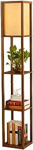 QIANGUANG® Illuminazione interna Lampada da terra in legno da 1,6 m con ripiani per camera da letto e soggiorno (senza lampadina) (Brown)