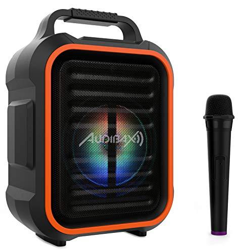 Audibax, Combo Port6 -VHF Sistema Bluetooth, Altavoz Bluetooth con USB/SD/MP3, Batería Recargable, Micrófono Inalámbrico, Radio FM, Mando a Distancia, Iluminación LED, Ecualización del Sonido