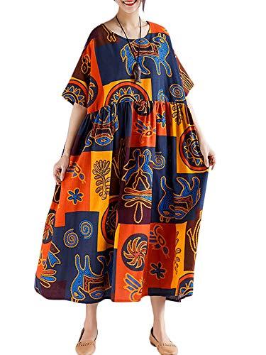 Romacci Damen Blätter Drucken Splice Farbe Lange Maxi Rüschen Dress Strand Urlaub Lose Sommerkleid Schwarz (One Size, Orange)
