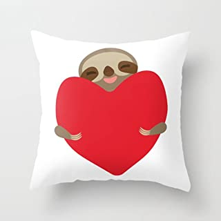 FJPT Throw Pillow Cover Valentines Day Card Funny Sloth Hug with A Red Heart Indoor Creative Decorations for Sofa Bed Square Stand Size Pillowcase 26x26 Inch