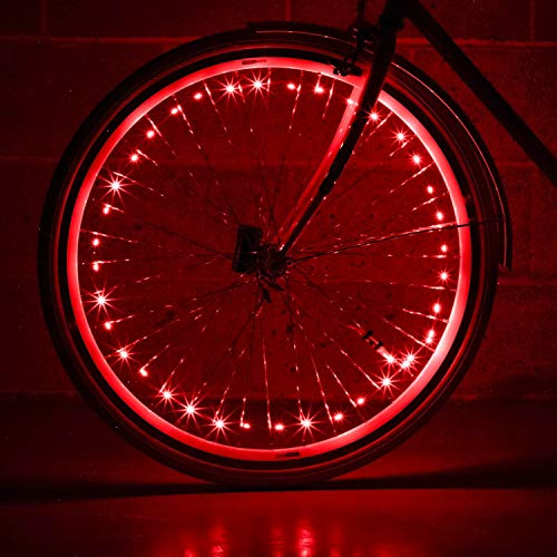 Monkey Light NLX1 LED Bike Wheel Lights, Assembled in USA. Best Fitness Gifts for Grand Daughter Grand Son Nephew Niece Sports Presents. Top Senior Fun Cool Ideas for Women who Have Everything.(Red)