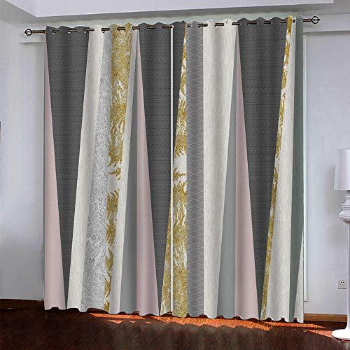 XKSJWY Cortinas Salon Dormitorio Moderno 2 Piezas 3D Arte Simple A Rayas Patrón Cortinas Ventana Opacas Termicas Aislantes Frio Y Calor, Cortinas Habitacion Juvenil con Ojales 280X260Cm