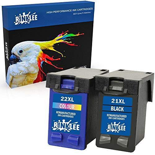 RINKLEE Remanufacturado para HP 21XL 22XL Cartucho de Tinta Compatible con HP Deskjet F2120 F2180 F2280 F380 F390 F4180 F4190 D1460 D2360 D2460 Officejet 4315 4355 PSC 1410 1415 | 1 Negro, 1 Tricolor