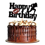 Unimall Football Cake Topper Rugby Ball Happy Birthday Sign Cake Fruit Muffin Picks for Super Bowl Party Decor Touchdown Sport Themed Game Day Party Supplies Decorations Ball Food Picks