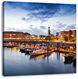Hamburger Hafen am Abend, Format: 60x60 auf Leinwand, XXL