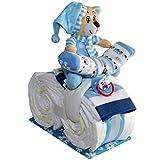 Kleines Windelmotorrad Schlafbärchen Justin 21tlg. für Jungen Geschenk zur Geburt Taufe Windeltorte (Blau)