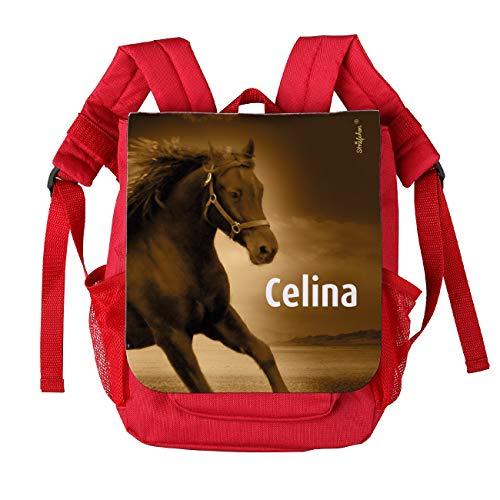 Striefchen® Kinderrucksack für Mädchen in Rot Motiv: Pferd mit Wunschnamen