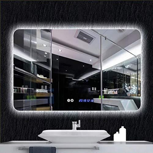XQAQX Espejo de Baño Espejo Maquillaje Espejo de tocador Vanidad de LED iluminada antiniebla sin Marco montada en la Pared sin Marco rectángulo