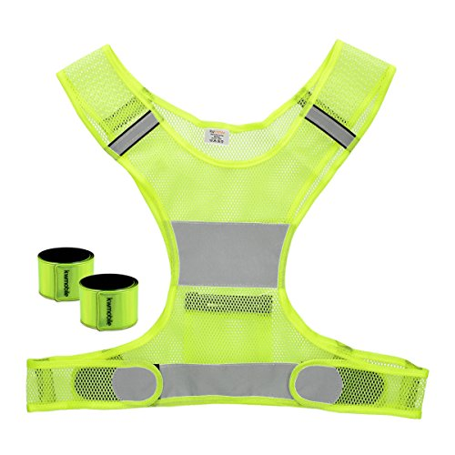 kwmobile 3in1 Set Reflektor Sicherheitsweste - 1x Warnweste 2X Schnapparmband Neon Gelb - Reflektorweste für Laufen Joggen