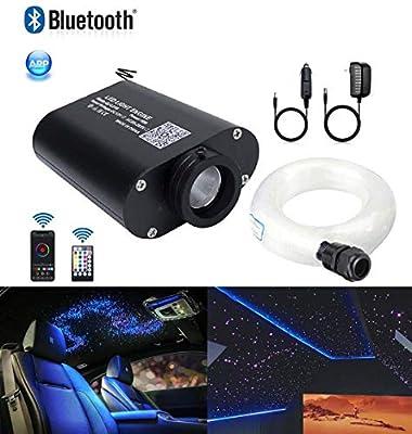 AZIMOM LED Bluetooth 16W RGBW Fiber Optic Light Star Ceiling Lighting Kits Music Mode APP Remote Control Car Home Headliner Interior Decoration Mixed 335pcs 13.1ft