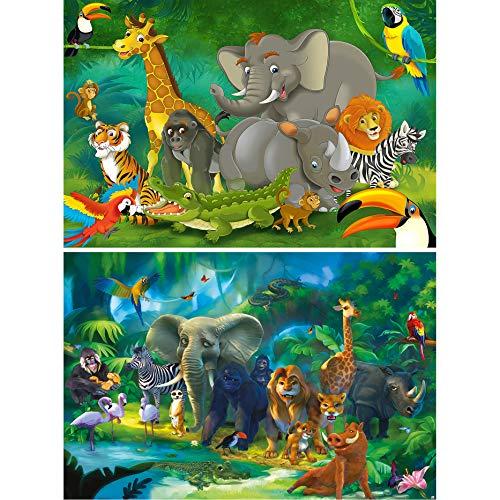 GREAT ART 2er Set XXL Poster Kinderzimmer – Urwaldtiere Dschungel Illustration Abenteuer Elefant AFFE Löwe Dekoration Wandposter Fotoposter Jungen Mädchen Comic Style (140 x 100cm)