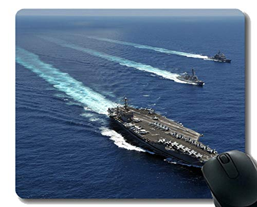 Mouse Pad with Stitched Edge,Military USS Abraham Lincoln (CVN 72) Warship Non-Slip Rubber Gaming Mouse Pad