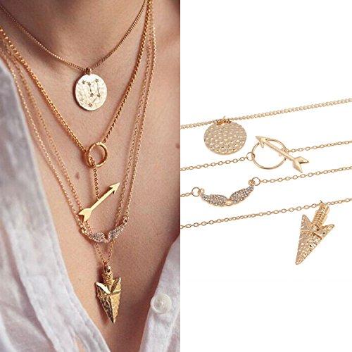 Elegante collar de mujer de color dorado con 3 cadenas de capas y 3 colgantes diferentes de VAGA