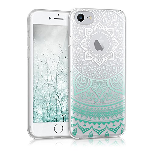 kwmobile Hülle kompatibel mit Apple iPhone 7/8 - Hülle Silikon transparent Indische Sonne Mintgrün Weiß Transparent
