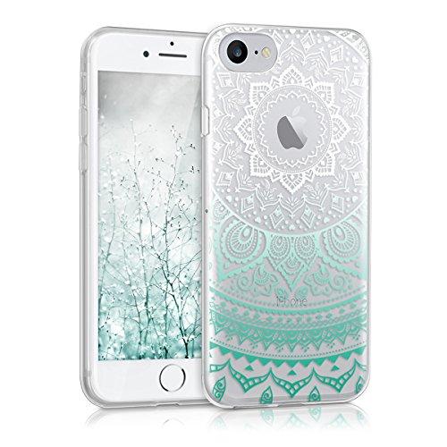 kwmobile Hülle kompatibel mit Apple iPhone 7/8 - Handyhülle - Handy Hülle Indische Sonne Mintgrün Weiß Transparent