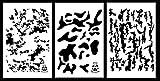 Acid Tactical® 3 Pack - 23 cm x 35 cm Camouflage Vinyl Airbrush Spray Paint Schablonen - Duracoat Gun (Digital, Bark, Multicam Camo)