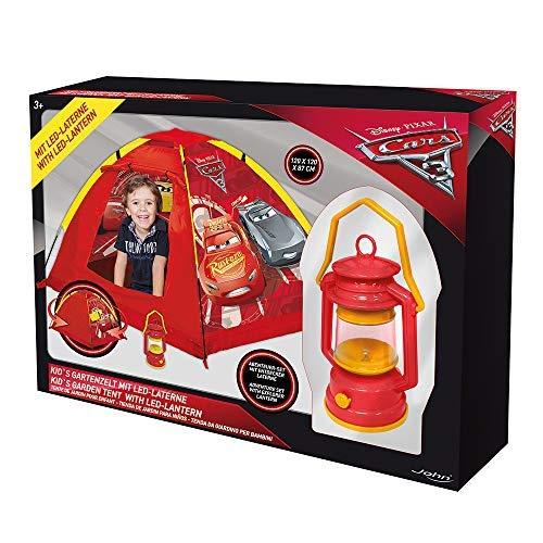 John 72566 My Starlights Gartenzelt Cars LED Lampe Outdoor Spielzelt Abenteuerzelt Kinderzelt, Rot