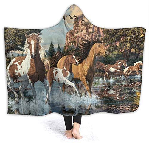 DPQZ - Manta con capucha de caballo de guerra india, acuarela, ultra suave, franela polar para cama de todas las estaciones mantas de felpa para sala de estar/dormitorio de 200 x 60 cm