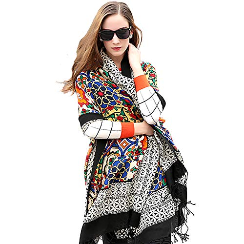 DANA XU 100% Pure Wool Women Winter Large Scarf Pashmina (Black) (Black)