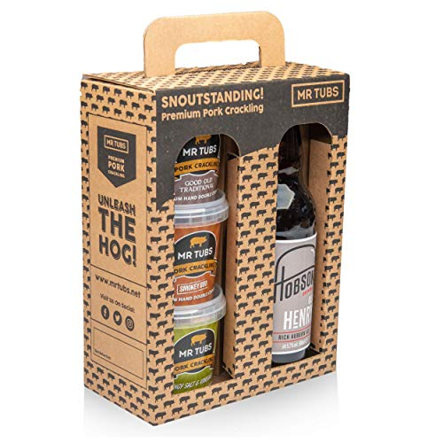 Mr Tubs Gourmet Double Hand Cooked Pork Crackling & Hobsons Old Henry Craft Beer Real Ale Gift Pack Carry Case